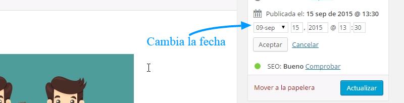 Cómo cambiar la fecha de un artículo en WordPress