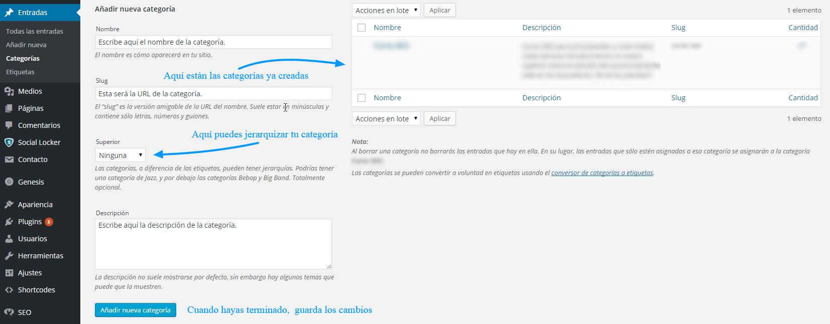 Crear una nueva categoría en WordPress