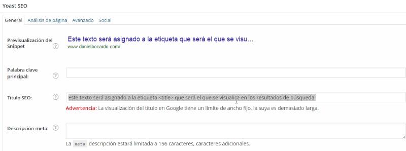 Etiqueta title optimizada por SEO WordPress by Yoast