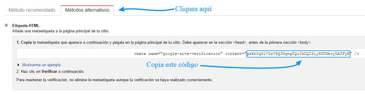 ID de verificación de Google Webmaster Tools
