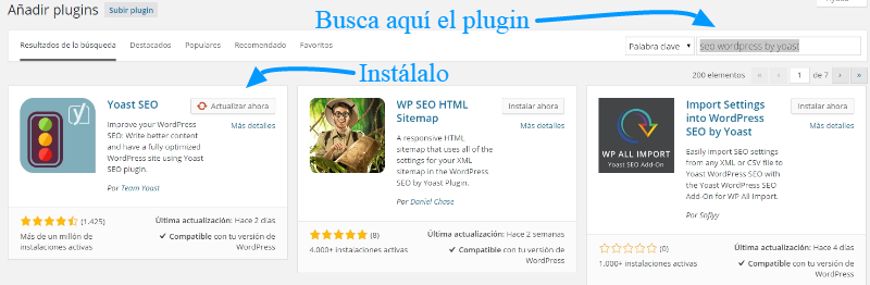 Instalar plugin SEO WordPress by Yoast