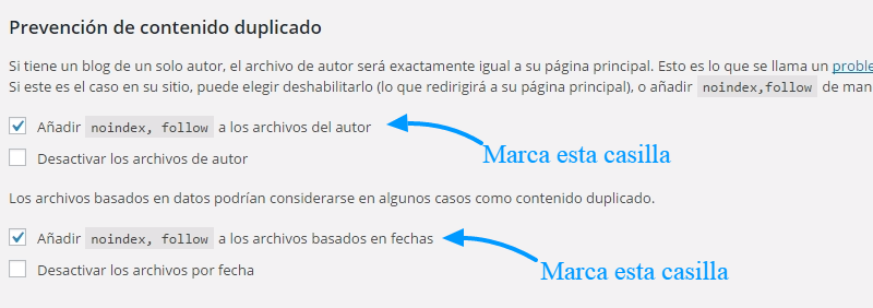 Noindex en páginas de autor y fechas de WordPress