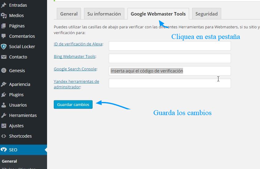 Cómo verificar la propiedad de Google Webmaster Tools en WordPress