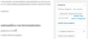Añadir nueva categoría desde un artículo en WordPress
