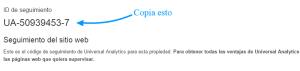 Copiar ID de seguimiento de Google Analytics