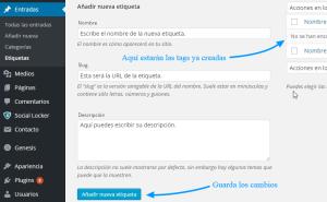 Crear nuevas etiquetas desde el escritorio de WordPress
