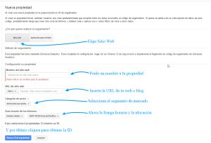 Cómo crear una propiedad en Google Analytics