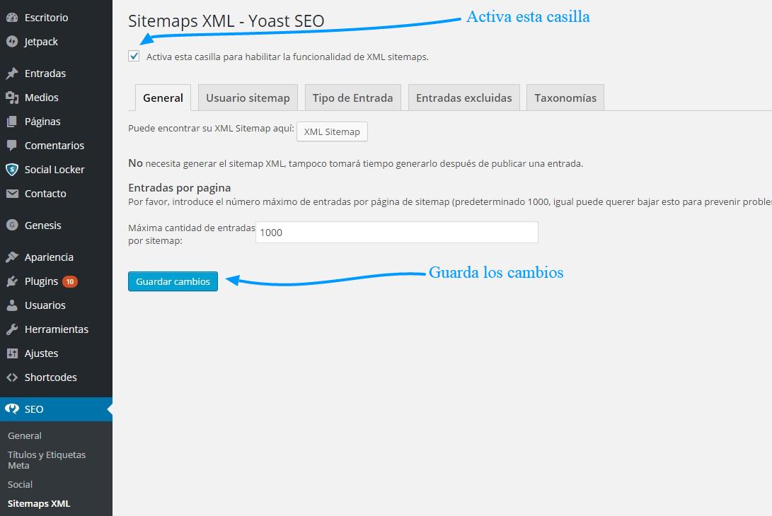 Cómo crear un sitemap.xml con SEO WordPress by Yoast 1