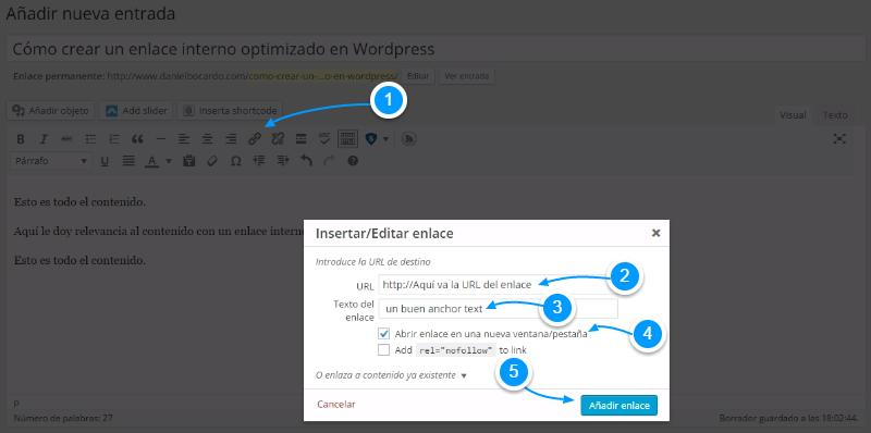 Cómo crear un enlace en WordPress