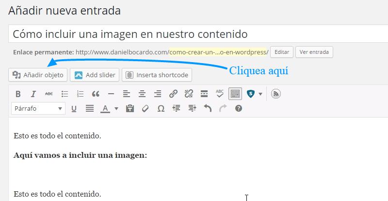 Cómo incluir una imagen en WordPress