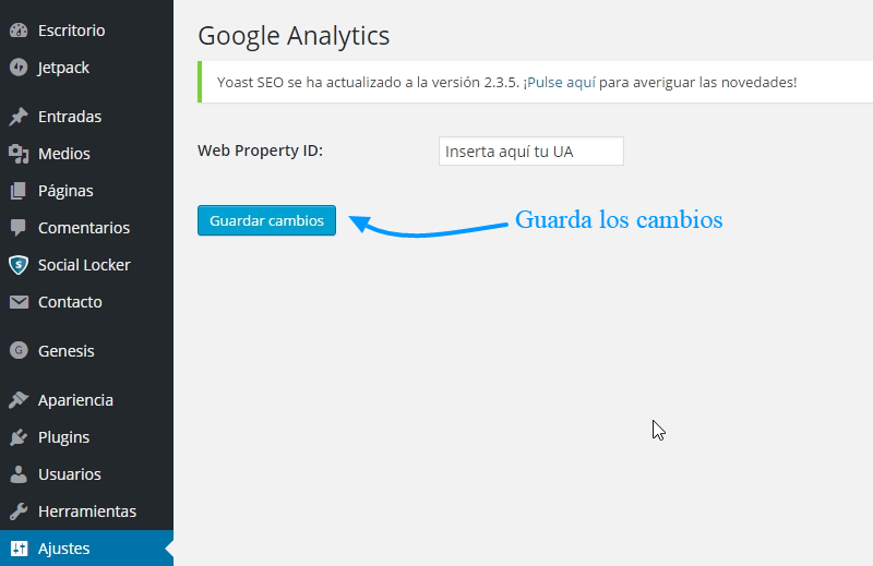 Cömo insertar en WordPress el código de seguimiento de Google Analytics