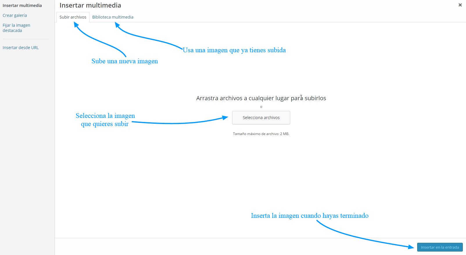 Cómo subir una imagen a WordPress