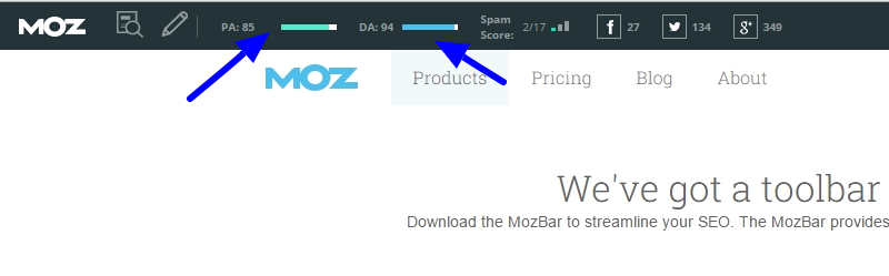 Mozbar en la web.