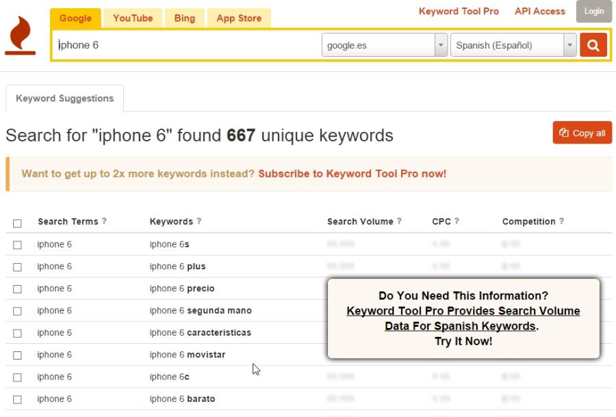 Informe de keyword tool