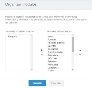 Organizar módulos del CRM Zoho