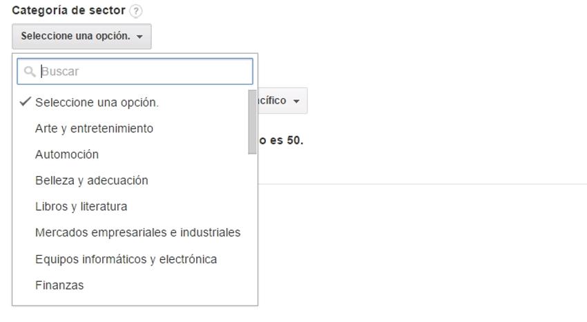 categorias del sector google analytics