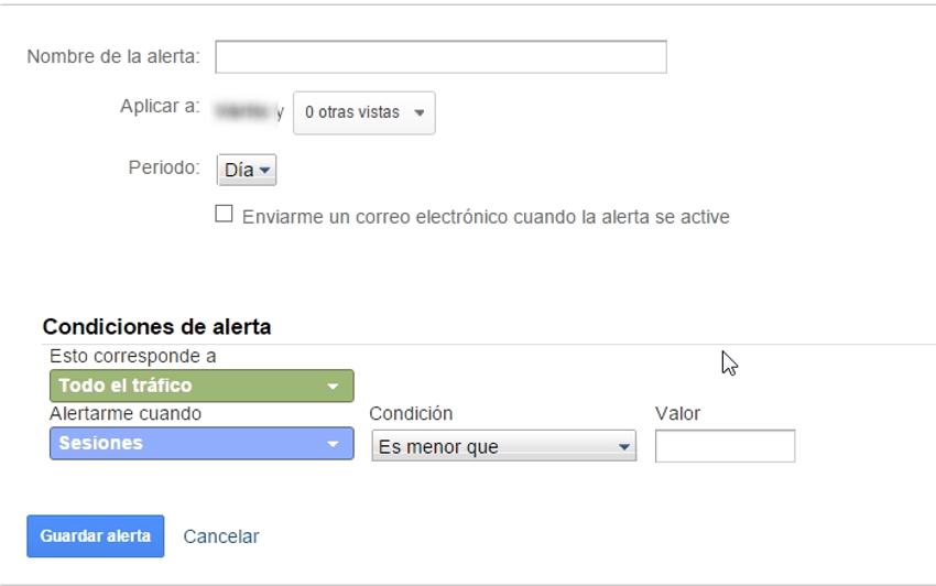 configurar alertas personalizadas google analytics