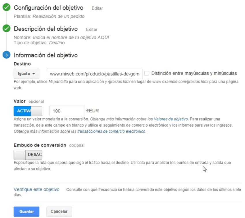 configurar objetivo google analytics 3