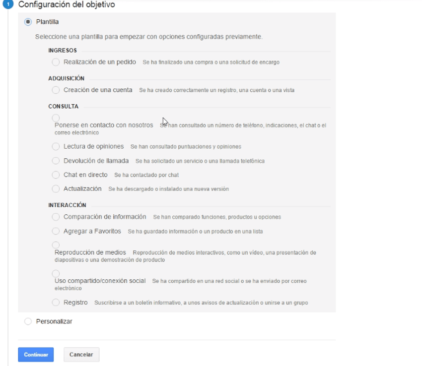 configurar objetivo google analytics